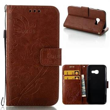 Embossing Butterfly Flower Leather Wallet Case for Samsung Galaxy A3 2017 A320 - Brown