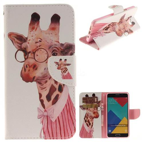 Pink Giraffe PU Leather Wallet Case for Samsung Galaxy A5 2016 A510