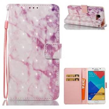 Pink Marble 3D Painted Leather Wallet Case for Samsung Galaxy A5 2016 A510