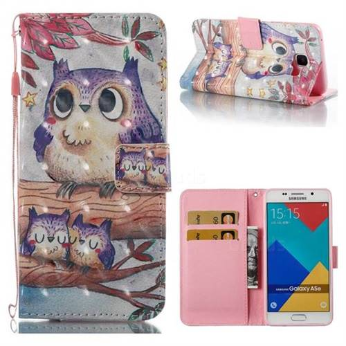 Purple Owl 3D Painted Leather Wallet Case for Samsung Galaxy A5 2016 A510