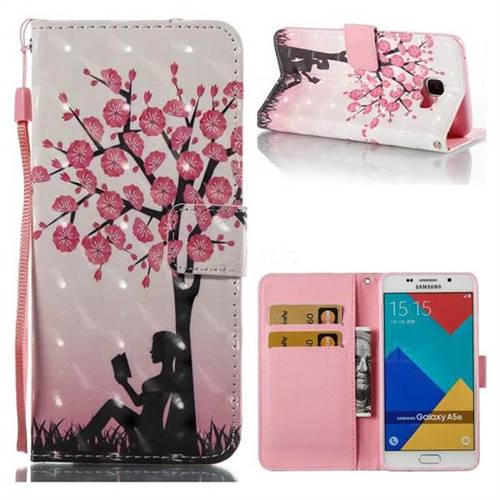 Plum Girl 3D Painted Leather Wallet Case for Samsung Galaxy A5 2016 A510
