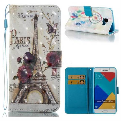 Flower Eiffel Tower 3D Painted Leather Wallet Case for Samsung Galaxy A5 2016 A510