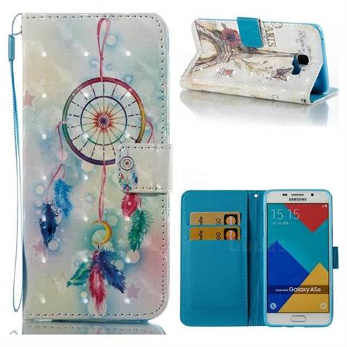 Feather Wind Chimes 3D Painted Leather Wallet Case for Samsung Galaxy A5 2016 A510