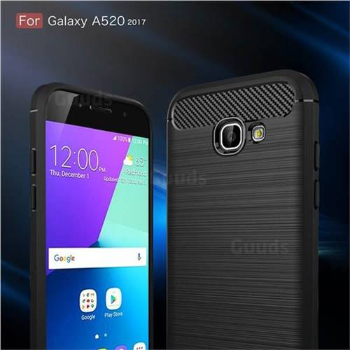 Luxury Carbon Fiber Brushed Wire Drawing Silicone TPU Back Cover for Samsung Galaxy A5 2017 A520 (Black)