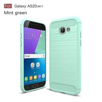 Luxury Carbon Fiber Brushed Wire Drawing Silicone TPU Back Cover for Samsung Galaxy A5 2017 A520 (Mint Green)