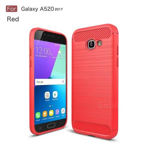 Luxury Carbon Fiber Brushed Wire Drawing Silicone TPU Back Cover for Samsung Galaxy A5 2017 A520 (Red)