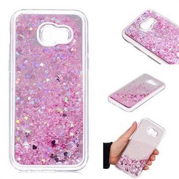 Glitter Sand Mirror Quicksand Dynamic Liquid Star TPU Case for Samsung Galaxy A5 2017 A520 - Cherry Pink