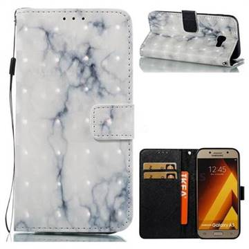 White Gray Marble 3D Painted Leather Wallet Case for Samsung Galaxy A5 2017 A520