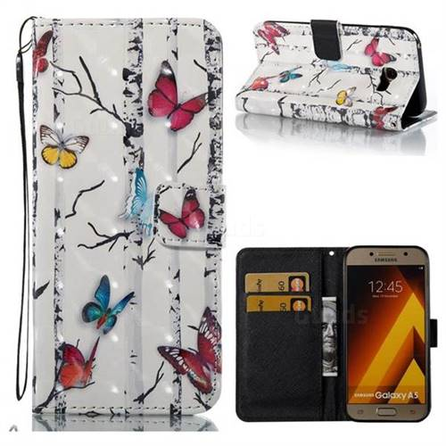 Colored Butterflies 3D Painted Leather Wallet Case for Samsung Galaxy A5 2017 A520