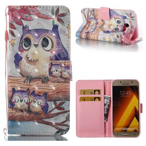 Purple Owl 3D Painted Leather Wallet Case for Samsung Galaxy A5 2017 A520
