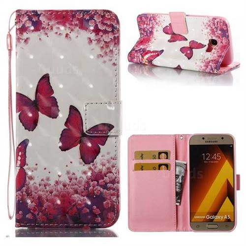 Rose Butterfly 3D Painted Leather Wallet Case for Samsung Galaxy A5 2017 A520