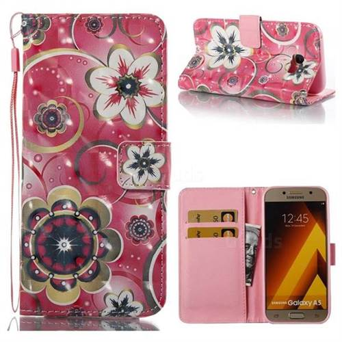 Tulip Flower 3D Painted Leather Wallet Case for Samsung Galaxy A5 2017 A520