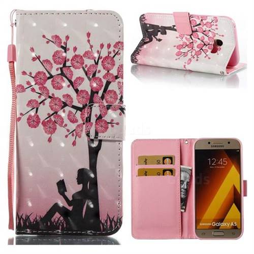 Plum Girl 3D Painted Leather Wallet Case for Samsung Galaxy A5 2017 A520