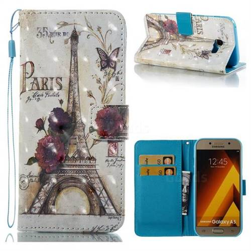 Flower Eiffel Tower 3D Painted Leather Wallet Case for Samsung Galaxy A5 2017 A520