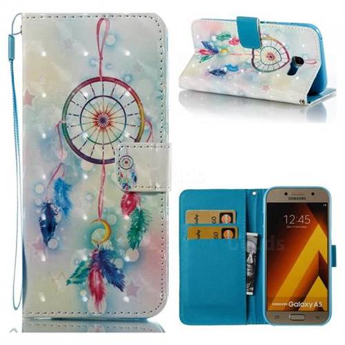 Feather Wind Chimes 3D Painted Leather Wallet Case for Samsung Galaxy A5 2017 A520