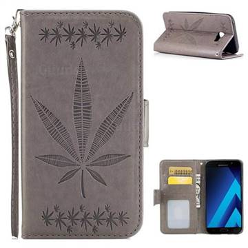 Intricate Embossing Maple Leather Wallet Case for Samsung Galaxy A5 2017 A520 - Gray