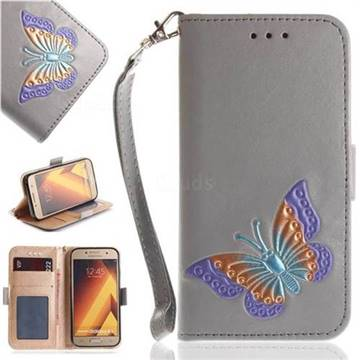 Imprint Embossing Butterfly Leather Wallet Case for Samsung Galaxy A5 2017 A520 - Grey