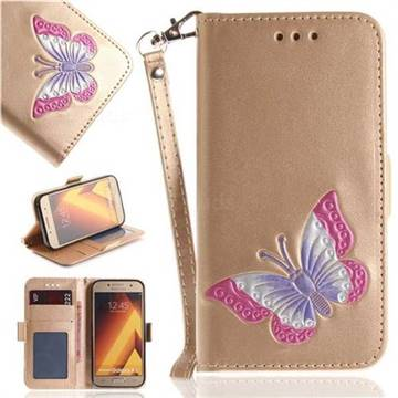 Imprint Embossing Butterfly Leather Wallet Case for Samsung Galaxy A5 2017 A520 - Golden