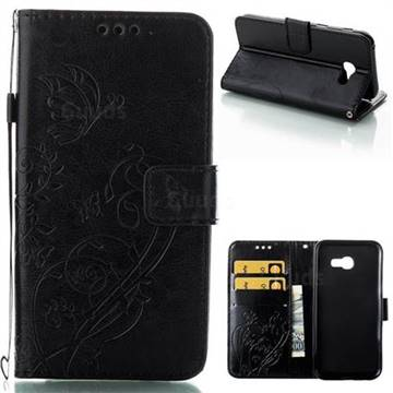 Embossing Butterfly Flower Leather Wallet Case for Samsung Galaxy A5 2017 A520 - Black