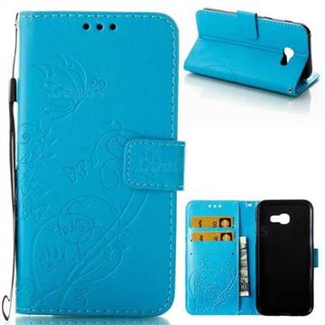 Embossing Butterfly Flower Leather Wallet Case for Samsung Galaxy A5 2017 A520 - Blue