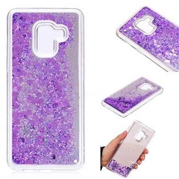 Glitter Sand Mirror Quicksand Dynamic Liquid Star TPU Case for Samsung Galaxy A8 2018 A530 - Purple