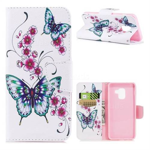 Peach Butterfly Leather Wallet Case for Samsung Galaxy A5 2018 A530