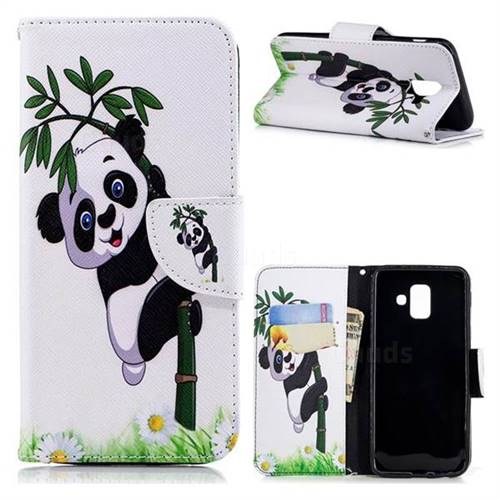 Bamboo Panda Leather Wallet Case for Samsung Galaxy A6 (2018)