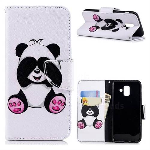 Lovely Panda Leather Wallet Case for Samsung Galaxy A6 (2018)