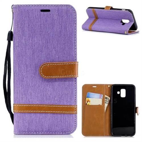 Jeans Cowboy Denim Leather Wallet Case for Samsung Galaxy A6 (2018) - Purple