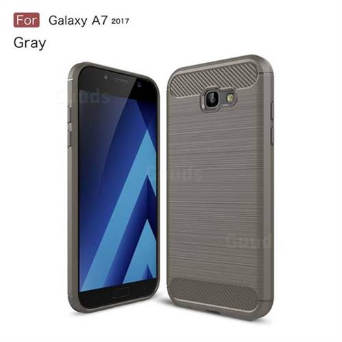 Luxury Carbon Fiber Brushed Wire Drawing Silicone TPU Back Cover for Samsung Galaxy A7 2017 A720 (Gray)
