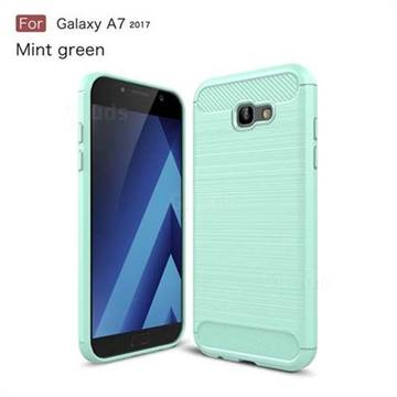 Luxury Carbon Fiber Brushed Wire Drawing Silicone TPU Back Cover for Samsung Galaxy A7 2017 A720 (Mint Green)