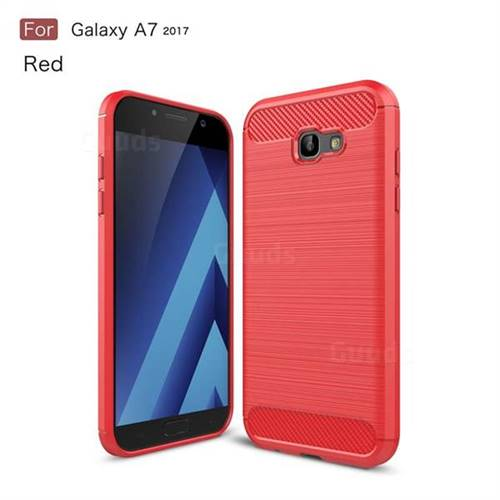 Luxury Carbon Fiber Brushed Wire Drawing Silicone TPU Back Cover for Samsung Galaxy A7 2017 A720 (Red)