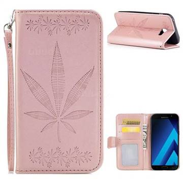Intricate Embossing Maple Leather Wallet Case for Samsung Galaxy A7 2017 A720 - Rose Gold