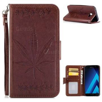 Intricate Embossing Maple Leather Wallet Case for Samsung Galaxy A7 2017 A720 - Brown