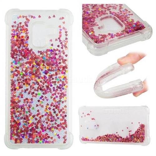 Dynamic Liquid Glitter Sand Quicksand TPU Case for Samsung Galaxy A8+ (2018) - Rose Gold Love Heart