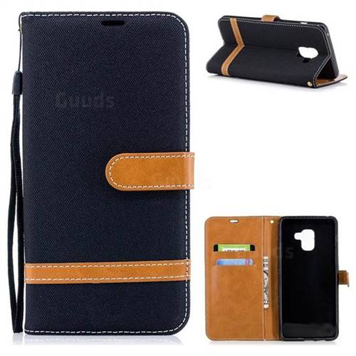 Jeans Cowboy Denim Leather Wallet Case for Samsung Galaxy A8+ (2018) - Black
