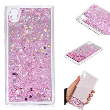 Glitter Sand Mirror Quicksand Dynamic Liquid Star TPU Case for Sony Xperia L1 / Sony E6 - Cherry Pink