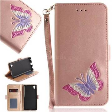Imprint Embossing Butterfly Leather Wallet Case for Sony Xperia L1 / Sony E6 - Rose Gold