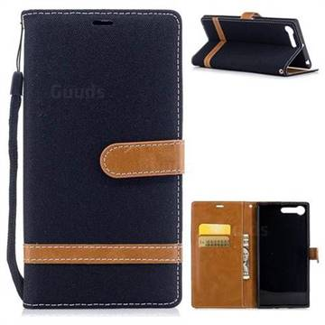 Jeans Cowboy Denim Leather Wallet Case for Sony Xperia X1 - Black