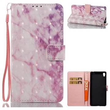 Pink Marble 3D Painted Leather Wallet Case for Sony Xperia XA