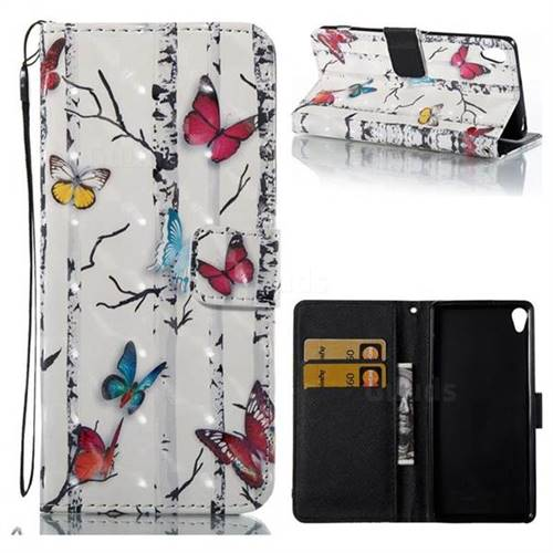 Colored Butterflies 3D Painted Leather Wallet Case for Sony Xperia XA
