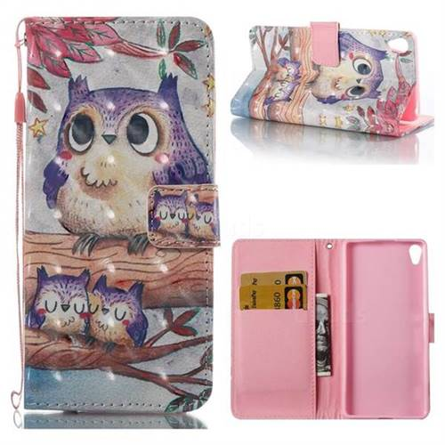 Purple Owl 3D Painted Leather Wallet Case for Sony Xperia XA