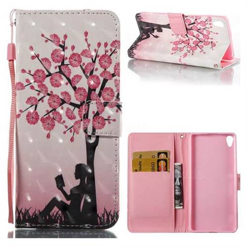 Plum Girl 3D Painted Leather Wallet Case for Sony Xperia XA