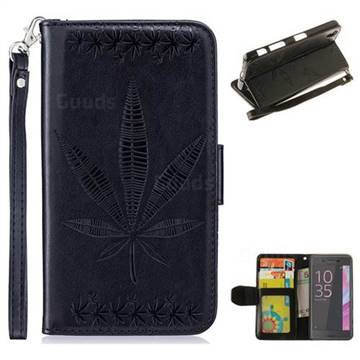 Intricate Embossing Maple Leather Wallet Case for Sony Xperia XA - Black