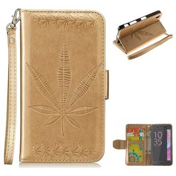 Intricate Embossing Maple Leather Wallet Case for Sony Xperia XA - Champagne