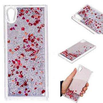 Glitter Sand Mirror Quicksand Dynamic Liquid Star TPU Case for Sony Xperia XA1 - Red