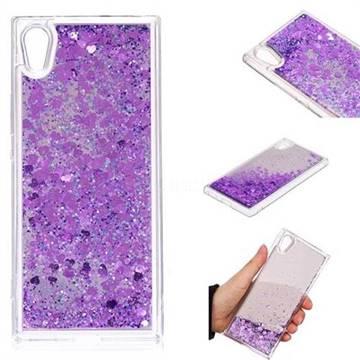 Glitter Sand Mirror Quicksand Dynamic Liquid Star TPU Case for Sony Xperia XA1 - Purple