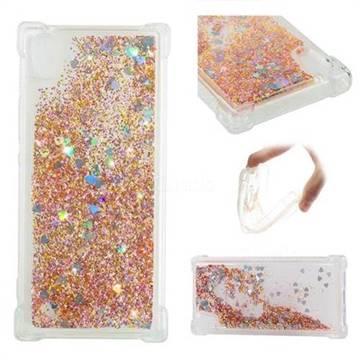Dynamic Liquid Glitter Sand Quicksand Star TPU Case for Sony Xperia XA1 - Diamond Gold