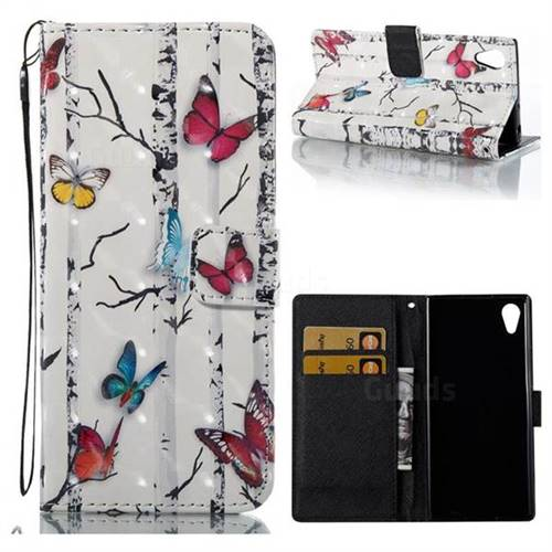 Colored Butterflies 3D Painted Leather Wallet Case for Sony Xperia XA1