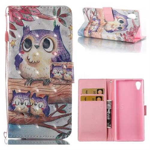 Purple Owl 3D Painted Leather Wallet Case for Sony Xperia XA1